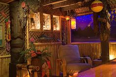 from Sponge Bob's animation director Awesome Tiki Lounge Inspired by Disney's Enchanted Tiki Room Tiki Art, Tiki Tiki, Tiki Lounge, Bar Lounge, Tiki Bar Decor, Disney Enchanted, Vintage Tiki, Tiki Torches, Spa Rooms