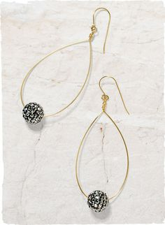"""Auriga Teardrop Earrings - A crystal-studded bead slides along a wire teardrop hoop, giving our dangling earrings a festive sparkle that will glam up any look. 2.25"""" drop 14 Karat Gold Fill Wire With A Czech Crystal Shamballa Ball  Pierced onlyMade in USA"""