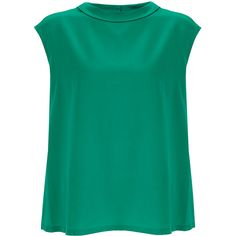 Raoul Eleanor Green Silk Sleeveless Blouse (395 RON) ❤ liked on Polyvore featuring tops, blouses, green, silk sleeveless top, raoul, silk blouses, green blouse and sleeveless tops
