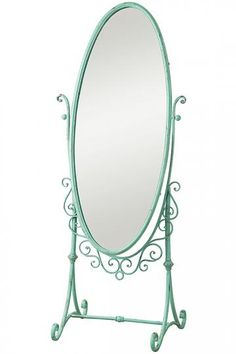 Hand Painted Duck Egg Blue Cheval Oval Mirror Full Body Length Wood ...