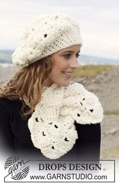 "DROPS crochet Basque hat and scarf with shell pattern in ""Eskimo"". ~ DROPS Design"