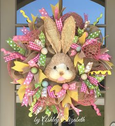 "Easter Wreath, Bunny Wreath, Easter Bunny Wreath | by Ashley Elizabeth ~ Adorable 30"" wreath made with natural burlap and poly burlap mesh; embellished with a sweet bunny made out of layered natural sisal grasses; and accented with pink flocked chicken wire, beautiful multi-colored ribbons, speckled eggs, and curly picks."