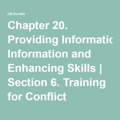 Chapter 20. Providing Information and Enhancing Skills | Section 6. Training for Conflict Resolution | Main Section | Community Tool Box