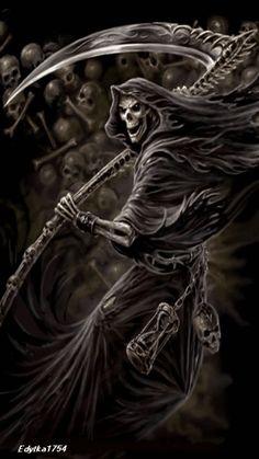 Skull Art by Anne Stokes ☠️ Grim Reaper Images, Grim Reaper Art, Grim Reaper Tattoo, Death Reaper, Don't Fear The Reaper, Dark Fantasy Art, Dark Art, Anne Stokes, Skull Artwork
