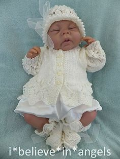 I Believe in Angels Knitting Patterns Uk, Free Baby Patterns, Baby Cardigan Knitting Pattern, Baby Dress Patterns, Knitted Dolls, Knitted Hats, Knit Baby Sweaters, Crochet Baby Clothes, Suits