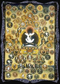 Bardo mandala - Emination of Emptiness.  Following the fleeting appearance of the clear light of death, ordinary beings enter into the bardo.  Usually placed on the forehead (face down) of the deceased.