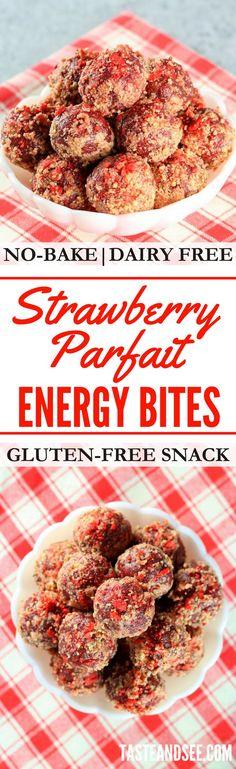 Strawberry Parfait Energy Bites | No-bake | Gluten-free | Valentine's | http://tasteandsee.com