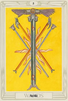 'Strife' tarot card from the Thoth deck by Aleister Crowley.