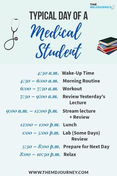 Free Med School Study Guide - TheMDJourney What is the typical schedule of a pre-clinical student? Let's take a look on my schedule when I was a medical student. Life Hacks For School, School Study Tips, School Ideas, Study Motivation Quotes, Student Motivation, Exam Motivation, Study Quotes, Med Student, Student Life