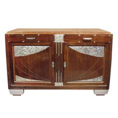 French Art Deco hand carved silver leaf cabinet with marble top | From a unique collection of antique and modern cabinets at http://www.1stdibs.com/furniture/storage-case-pieces/cabinets/