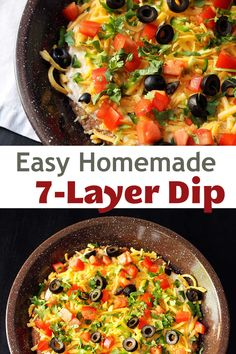 This easy seven layer dip recipe is homemade – meaning less processed and more deliciousness! It's the perfect appetizer for taco night as well as holiday get-togethers. Easy Appetizer Recipes, Yummy Appetizers, Easy Weekday Meals, Easy Dinners, Homemade Taco Seasoning Mix, Stovetop Mac And Cheese, Seven Layer Dip, Side Dishes Easy, Food 52