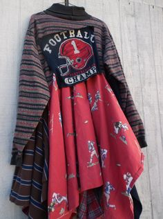 large  xlarge  Football lagenlook jersey and cotton dress /