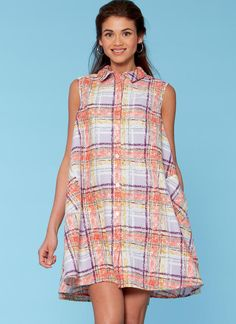 McCall's shirtdress sewing pattern. M7565 Misses' Shirtdresses with Sleeve Options, and Belt