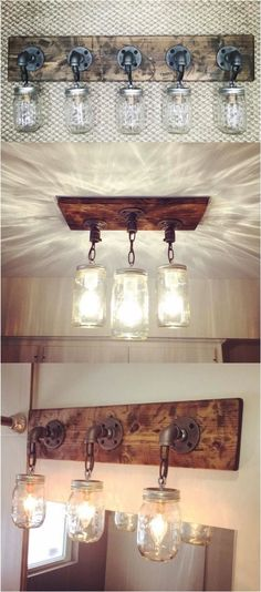 Kitchen Lighting Ideas DIY Mason Jar Light Fixtures - the basis for my skokie scone idea (no chains though) - Do you want to transform your bathroom into a rustic country paradise? This list of gorgeous farmhouse bathroom design ideas can help. Diy Mason Jar Lights, Mason Jar Light Fixture, Mason Jar Lighting, Mason Jar Diy, Mason Jar Bathroom, Dyi Light Fixtures, Mason Jar Chandelier, Mason Jar Kitchen Decor, Vintage Light Fixtures