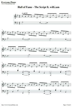 Free Hall of Fame-The Script ft. will.i.am Sheet Music Preview 1