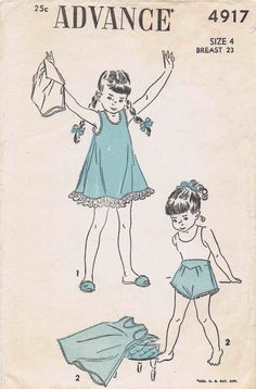 1940s Advance 4917 Pattern Girls Slip Panties by patternshop, $9.99