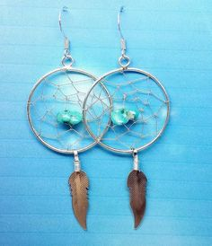 Large Dreamcatcher earrings with Turquoise suspended in the centre
