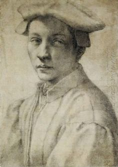 """Michelangelo (Italian, 1475–1564): Portrait of Andrea Quaratesi, c. 1532. Black chalk on paper, 41 x 29 cm. Ashmolean Museum, University of Oxford, Oxford, UK.    """"According to Giorgio Vasari, one of Michelangelo's biographers, he was most reluctant to make portrait drawings 'unless the subject was one of perfect beauty'. This is the only surviving portrait drawing by Michelangelo. Drawn in black chalk ... The young man wears contemporary dress, a cap flat on his head ..."""""""