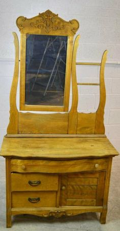 Antique Washstand with mirror Vintage 3 Drawer Wash stand w/Mirror