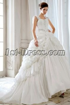 Ivory 2014 Gothic Ball Gown Bridal Gowns with Straps:1st-dress.com