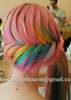Pink rainbow fishtail braided ponytail dyed hair @lilithstalker @blondieshair