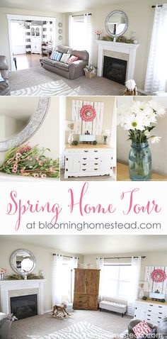 Bright and clean decor to usher in spring. Cute ideas in this Spring Home Tour