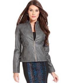 NWT Alfani Gray Faux Leather Zip Front Jacket