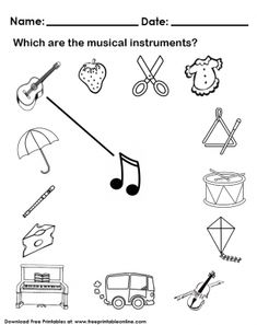 Fully customize any of our Kids Worksheets by utilizing the fun tools that we offer. This Musical Instruments Worksheet image is free to print out. Kindergarten Music, Preschool Music, Music Activities, Teaching Music, Kindergarten Worksheets, Music Lesson Plans, Music Lessons, Music Worksheets, Worksheets For Kids