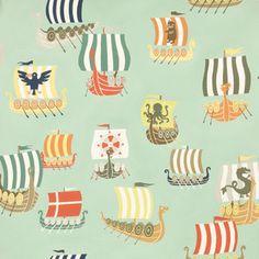 Alexander Henry House Designer - The Vikings - The Viking Fleet in Seafoam