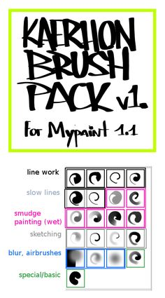 Kaerhon Brush Pack v1 for Mypaint by kaerhon.deviantart.com on @deviantART