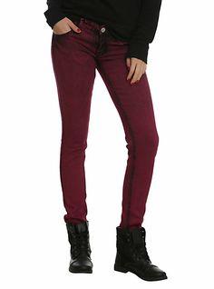 Puzzle Fuchsia Wash Skinny Jeans | Hot Topic