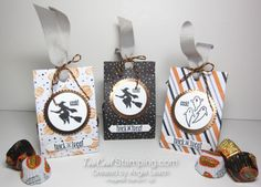 Halloween Night Treats - trio with candy Halloween Candy, Halloween Night, Holidays Halloween, Halloween Treat Holders, Mini Scrapbook Albums, Craft Box, Cardmaking, 3 D, Paper Crafts
