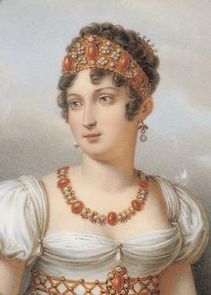Ritratto di Carolina Murat, che indossa una parure di coralli e perle proveniente dalla Real Fabbrica de' Coralli di Torre del Greco, miniatura del Museo Carnevalet