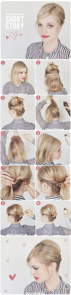 Girls with medium-length bobs can do cute braided updos, too. | 33 Impossibly Gorgeous Prom Hair Ideas