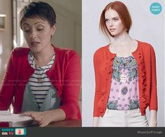 April's red scalloped cardigan on Chasing Life.  Outfit Details: http://wornontv.net/50714/ #ChasingLife