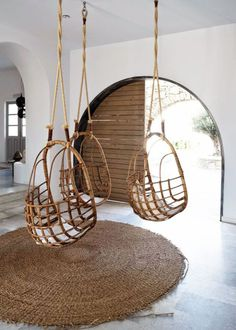 Is this the coolest @HotelSamGeorgio.  I mean I've been aching for just one hanging chair.  but three...than you don't have to fight over it. Seriously though, soooo much better than hotel lounge area chairs #hoteldecor #hangingchairs #chairlove