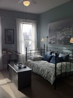 Single Bedroom Decorating Ideas Bedroom Ideas Small Modern Bedroom Ideas Full Size Of Decorating Single Bedroom Ideas Small Bedroom Bedroom Decorating Ideas Blue Bedroom Walls, Blue Bedroom Decor, Small Room Bedroom, Modern Bedroom, Bedroom Black, Bedroom Sets, Trendy Bedroom, Bedding Sets, Cozy Bedroom