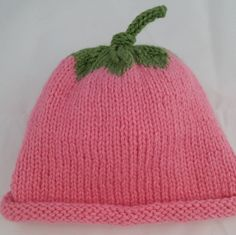 Baby Girl Flower Hat Bright Pink with Leaf on top. Hand by HRStuff