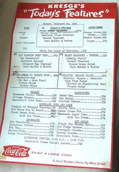 Kresge's back in the day was a great place to buy what we'd call low-end, five and dime style jewelry, today! Here's an old menu from Joan Williams of Lil Ruby at Etsy....I can almost smell the 'popcorn and the wad of gum rubbed about on the rubber sole of a shoe' (as Nanci Griffith often said about Woolworth's Five and Dime, in the monologue before her story-song, Love at the Five and Dime)