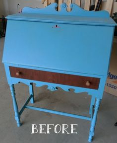 My Hand painted secretary desk makeover was featured at Apartment Therapy! Before & After: A Honey of a Secretary Desk Update Repainting Furniture, Painted Furniture, Modern Furniture, Furniture Design, Refurbished Furniture, Furniture Ideas, Desk Makeover, Furniture Makeover, Painted Secretary Desks