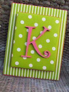 Dot Letters Pink and Green  Nursery Letters by spellitwithstyle, $25.00
