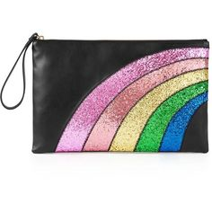 Redvalentino Glitter Rainbow Clutch Bag ($355) ❤ liked on Polyvore featuring bags, handbags, clutches, black, real leather handbags, leather handbags, black leather handbags, black clutches and sparkly purses