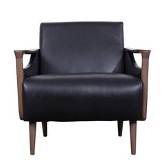 Vaughn Traditional Black Walnut Wood Carbon Leather Charcoal Chair