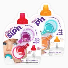 ChooMee Sipn Food Pouch Toppers 4 Ct Prevent Spills and Protect Mouth for sale online Pureed Food Recipes, Baby Food Recipes, Developmental Delays, Baby Eating, Baby Essentials, Cool Baby Stuff, Baby Gear, Aqua, Kids