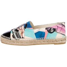 Pre-owned Chanel 2017 Paris-Cuba Espadrilles ($695) ❤ liked on Polyvore featuring shoes, sandals, pattern prints, black espadrille sandals, black sandals, blue sandals, woven sandals and espadrille sandals