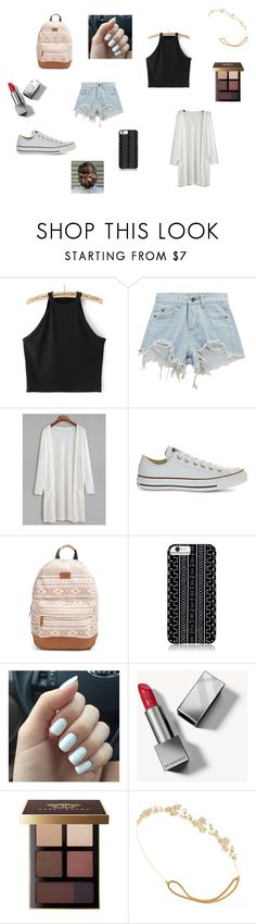 """""""Black and Denim!"""" by aishi16 ❤ liked on Polyvore featuring Chicnova Fashion, Converse, Rip Curl, Savannah Hayes, Burberry, Bobbi Brown Cosmetics and Jennifer Behr"""