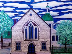 Church -église Kingston - Painting, in by Suzanne Berton - Painting, Ink Premier Ministre, Kingston Ontario, Conceptual Art, Original Art, Religion, Art Gallery, Canada, The Originals, History