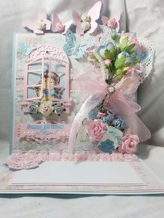 Magnolia tilda easel card made with Craft and you hello baby  papers