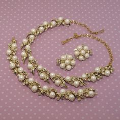 Sarah Coventry Faux Pearl/Clear Rhinestone Necklace, Bracelet & Earrings