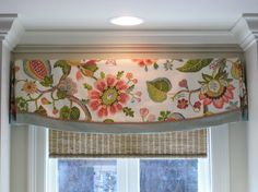 Valance Custom design idea: floral fabric with contrast banding, decorative gimp over seam. Custom, fabric, living room, bedroom, bathroom, unique, simple, contemporary, pleated, modern, pattern, scalloped.